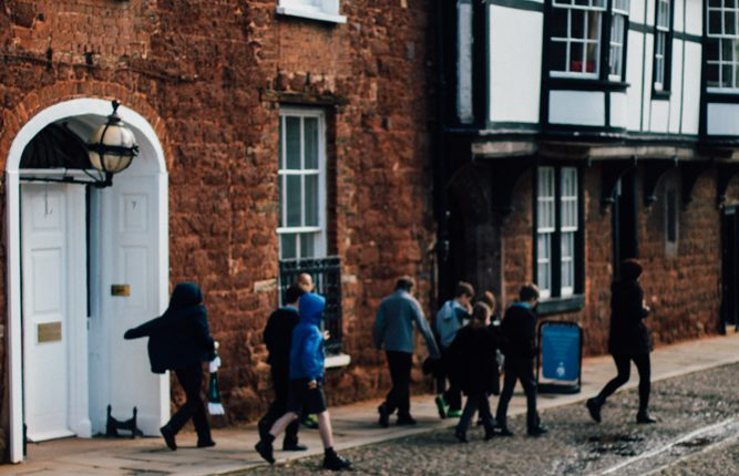 School group outside the Institution