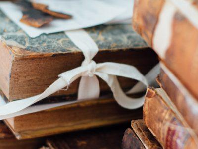 Bundle of books in ribbon