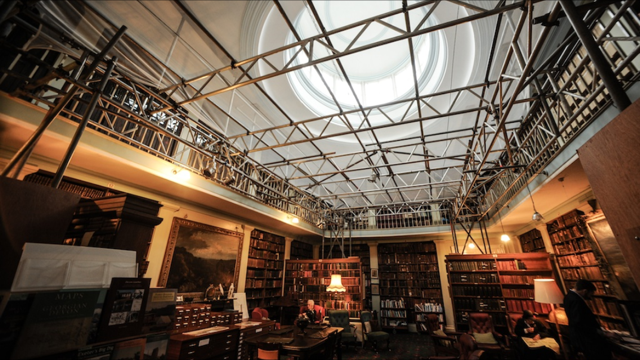 Interior view of library roof